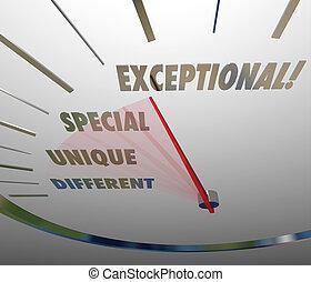 mesurer, différent, niveau, exceptionnel, unique, compteur vitesse, spécial