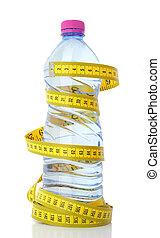 mesurer, eau, bande, bouteille, plastique