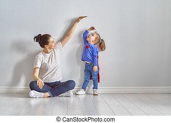 mesurer, enfant, croissance, mère