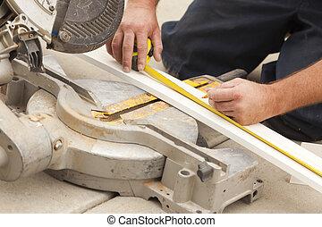 mesurer, entrepreneur, plinthe, découpage, nouveau, rénovation