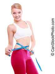 mesurer, femme, elle, crise, fitness, bande, diet., mesure, ...
