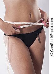 mesurer, femme, elle, waistline.