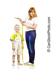 mesurer, femme, enfant
