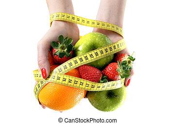 Mesurer, femme, esclave, régime,  fruit, bande, mains, lien