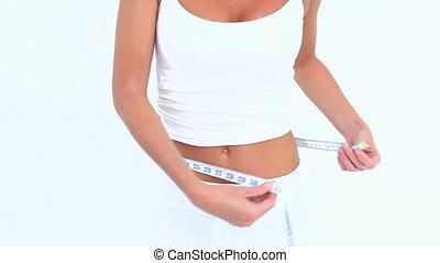 mesurer, femme, rire, elle, taille