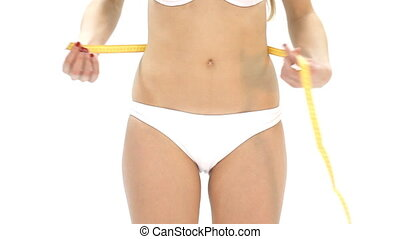 mesurer, femme, showi, elle, ventre