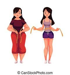 mesurer, femme, taille, poids, après, loosing, avant