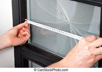 mesurer, fenêtre, dimension