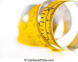 mesurer, fin, bande, haut, jaune