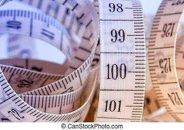 mesurer, fin, bande, haut, vue