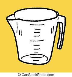 mesurer, griffonnage, tasse