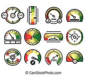 mesurer, indicateur, niveau, mesure, guage, icons., vecteur, mesure, mètre, signes, appareil