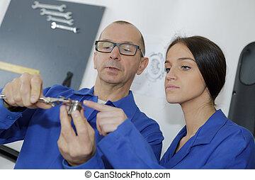mesurer, ingénieur, composant, micromètre, apprenti