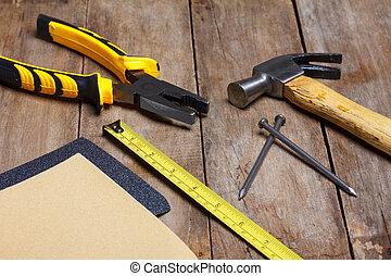 mesurer, marteau, bois, instruments, clous, -, papier verre, construction, pinces, table, bande