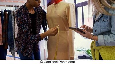 mesurer, modèle, 4k, concepteurs, mode, robe, couturières