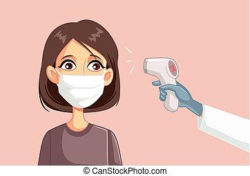 mesurer, patient, docteur, température, femme, chirurgical, masque portant