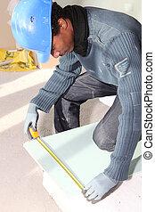 mesurer, placoplâtre, ouvrier