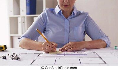 mesurer, plan, architecte, femme, compas