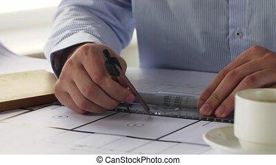 mesurer, plan, architecte, règle