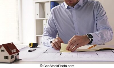 mesurer, plan, mâle, architecte, règle