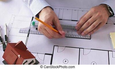 mesurer, plan, mains, architecte, règle