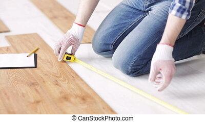 mesurer, plancher, haut, écriture, fin, homme