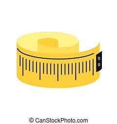 mesurer, plat, bande, icône