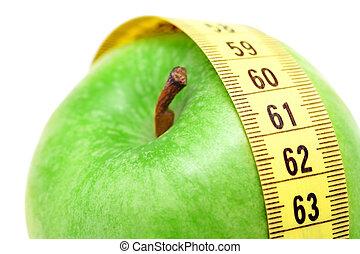 mesurer, pomme, haut, bande, fin, vue