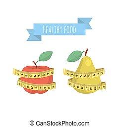 mesurer, pomme, poire, isolé, vecteur, arrière-plan vert, frais, blanc rouge, bande