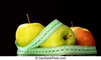 mesurer, pomme, reflet, collection, rotation, noir, bande
