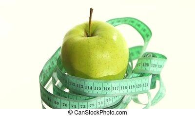 mesurer, pomme, rotation, bande, vert, blanc, frais, reflet