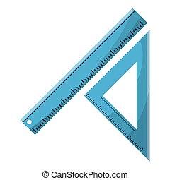 mesurer, règle, école, triangle