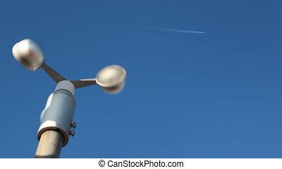 mesurer, rotatif, aéroport, girouette, vitesse, vent