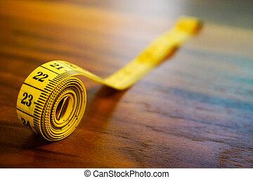 mesurer, roulé, bande, fin, vue