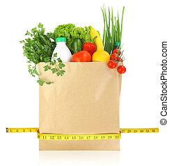 mesurer, sac, papier, épicerie, frais, bande