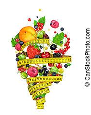 mesurer, salade, ingrédients, tornade, concept., régime,...
