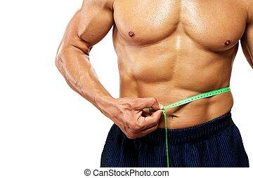 mesurer, sien, waistline., homme