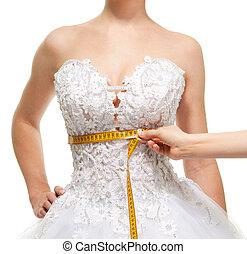 mesurer, sous, femme, taille, poitrine