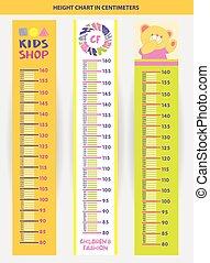 mesurer, stadiometer, illustration, centi, vecteur, enfants