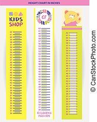 mesurer, stadiometer, illustration, vecteur, inche, enfants