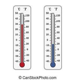 mesurer, température, fahrenheit, chaud, celsius, thermomètre, icon., froid