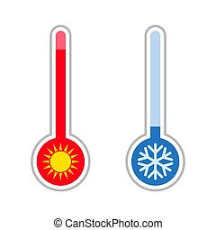 mesurer, temperature., météorologie, chaud, thermometers., froid