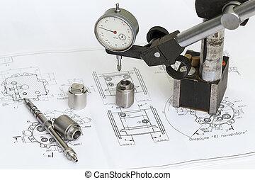mesurer, tools., dessin