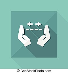 mesurer, -, vecteur, minimal, mains, geste, icône