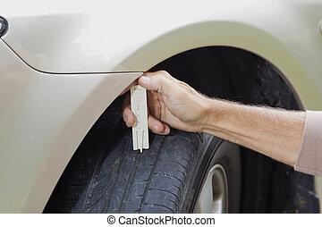 mesurer, voiture, pneu, profil