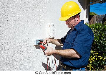 mesures, électricien, tension