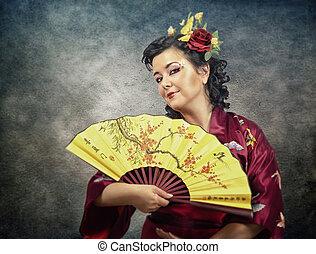 metà-lunghezza, ritratto, di, chimono, donna