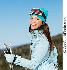 metà-lunghezza, ritratto, di, donna, sciatore