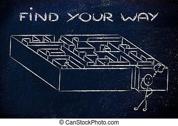 metáfora, design:, achar, maneira, labirinto, seu