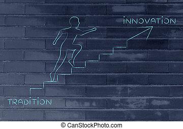 metáfora, innovación, escalera que sube, tradición, hombre